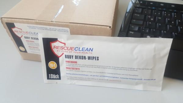 RESCUECLEAN W4 Body-Dekon-Wipes, 30er Einzeltücher